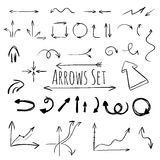Hand drawn arrows set, vector. Set of hand drawn arrows isolated on white background. Vector illustration Royalty Free Stock Photos