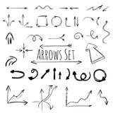 Hand drawn arrows set, vector Royalty Free Stock Photos