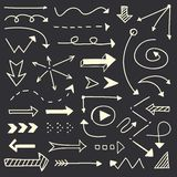 Hand drawn arrows sketch set Royalty Free Stock Images