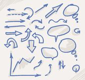 Hand drawn arrows and speach bubbles Stock Images