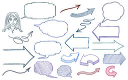 Hand drawn arrows. And speech bubbles illustration set Royalty Free Stock Photo