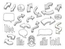 Hand drawn arrows and speech bubbles illustration set Stock Photo