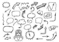 Hand drawn arrows and speech bubbles Royalty Free Stock Photography