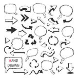 Hand Drawn arrows,speech bubbles Royalty Free Stock Photography