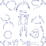 Hand drawn arrows and symbols isolated. Hand drawn arrows and symbols ball pen Royalty Free Stock Images