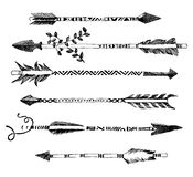 Hand drawn arrows in tribal style Stock Photos