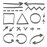 Hand drawn arrows vector set icon illustration Royalty Free Stock Photography