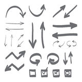 Hand drawn arrows vector set illustration Stock Images