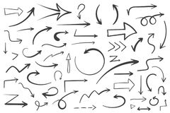 Hand Drawn Arrows. 55 Hand drawn arrows on white background, doodle arrows Stock Photos