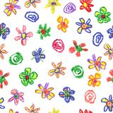 Wax crayon like kid`s drawn colorful seamless pattern with flowers on white. Hand drawn art background. Like child`s painting pastel chalk design elements Royalty Free Stock Photos