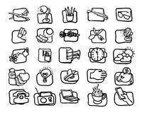 Hand drawn, Art icon set Stock Photos