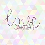 Hand drawn art illustration with ornament love. Hand drawn illustration with ornament love sign with triangles backdrop. Graphic colorful pastel cilor flowers Royalty Free Stock Photo