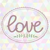 Hand drawn art illustration with ornament love. Hand drawn illustration with ornament love sign with triangles backdrop. Graphic colorful pastel cilor flowers Stock Image