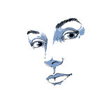 Hand-drawn art portrait of white-skin romantic woman, face emoti Royalty Free Stock Photography
