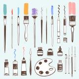 Hand drawn art tools, painter equipment illustration set Stock Images