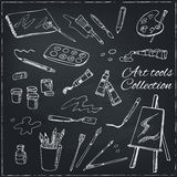 Hand drawn art tools set. Isolated vector illustration f Royalty Free Stock Image