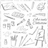Hand drawn art tools set.  vector illustration f Royalty Free Stock Images
