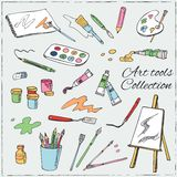 Hand drawn art tools set. Royalty Free Stock Images