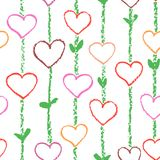 Floral love heart seamless pattern. Wax crayon or pencil like kid`s drawn. Stroke stripes texture. stock illustration