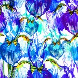 Hand drawn artistic background with blue iris flowers. Botanical motif by hand. Seamless pattern. Hand drawn flowers for. Hand drawn artistic background with Stock Images