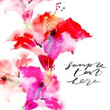 Hand drawn artistic background with copy space. Botanical motif by hand. Watercolor hibiscus flowers for backgrounds. Greeting cards, posters and banners Royalty Free Stock Photography