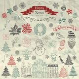 Hand Drawn Artistic Christmas Doodle Icons on Crumple Paper Stock Photos