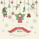 Hand Drawn Artistic Christmas Doodle Invitation Card. Royalty Free Stock Image
