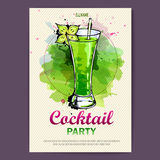 Hand drawn artistic cocktail disco poster. Watercolor paint royalty free illustration
