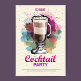 Hand drawn artistic cocktail disco poster. Royalty Free Stock Photography