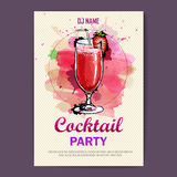 Hand drawn artistic cocktail disco poster. Royalty Free Stock Photo