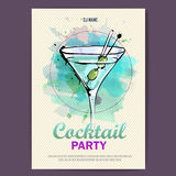 Hand drawn artistic cocktail disco poster. Royalty Free Stock Images