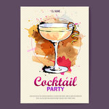 Hand drawn artistic cocktail disco poster. Royalty Free Stock Image