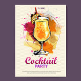 Hand drawn artistic cocktail disco poster. Royalty Free Stock Photos