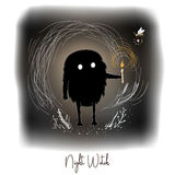 Hand drawn  artistic creative artwork illustration with black cute monster with candle in night fairy forest. Kind night spirit and firefly care about the Stock Images