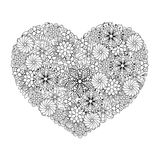 Hand drawn artistic ethnic ornamental patterned Big heart in doo Stock Photography