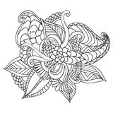 Hand drawn artistic ethnic ornamental patterned floral frame in doodle style,adult coloring pages. Royalty Free Stock Photo