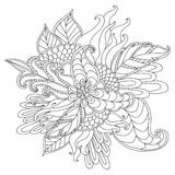 Hand drawn artistic ethnic ornamental patterned floral frame in Stock Photography