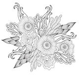 Hand drawn artistic ethnic ornamental patterned floral frame in doodle style,adult coloring pages. Hand drawn artistic ethnic ornamental patterned floral frame Stock Image