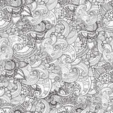 Hand drawn artistic ethnic ornamental patterned floral frame in doodle style for adult coloring pages. Stock Photo