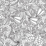 Hand drawn artistic ethnic ornamental patterned floral frame in. Doodle, zentangle style for adult coloring pages, t-shirt or prints. Vector spring illustration Royalty Free Stock Photo