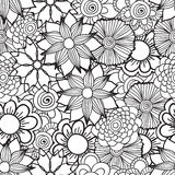 Hand drawn artistic ethnic ornamental patterned floral frame in. Doodle, zentangle style for adult coloring pages, t-shirt or prints. Vector spring illustration Royalty Free Stock Image