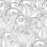 Hand drawn artistic ethnic ornamental patterned floral frame. In doodle, zentangle style for adult coloring pages, t-shirt or prints. Vector spring illustration Stock Photos