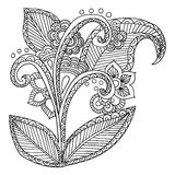 Hand drawn artistic ethnic ornamental patterned. Floral frame in doodle, zentangle style for adult coloring pages, tattoo, t-shirt or prints. Vector spring Royalty Free Stock Images