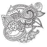 Hand drawn artistic ethnic ornamental patterned floral frame in. Doodle, zentangle style for adult coloring pages, tattoo, t-shirt or prints. Vector spring Stock Photo