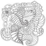 Hand drawn artistic ethnic ornamental patterned floral frame. Hand drawn artistic ethnic ornamental patterned floral frame in doodle, zentangle style for adult Stock Photos