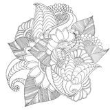 Hand drawn artistic ethnic ornamental patterned floral frame. Royalty Free Stock Photos