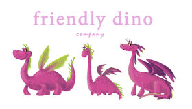 Hand drawn artistic funny dinosaur portrait collection  on white background. Stock Photography