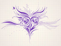 Hand-drawn artistic heart doodle. High-detailed sketchy heart doodle on a notepaper Stock Images
