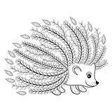 Hand drawn artistic Hedgehog for adult coloring page in doodle Stock Image