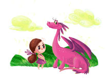 Hand drawn artistic illustration of cute little girl and friendly dinosaur Stock Photo